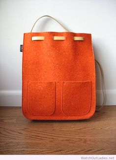 Nice felted wool backpack with leather straps