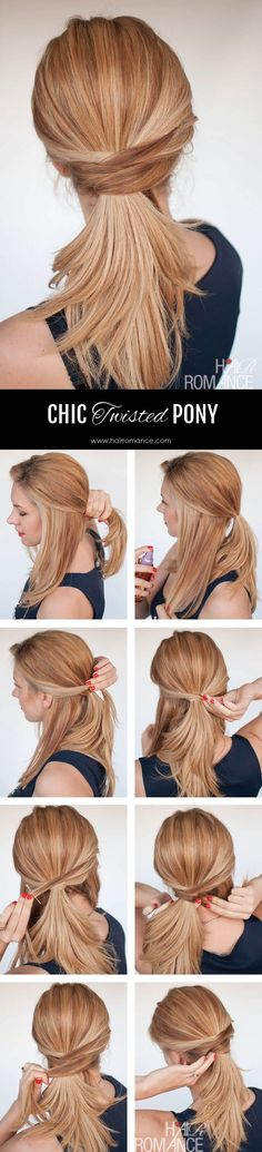 3 chic ponytail tutorials to lift your everyday hair game - Hair Romance - Hair Romance - The chic twisted ponytail tutorial - Everyday Hairstyles, Trendy Hairstyles, Office Hairstyles, Beautiful Hairstyles, Medium Hairstyles, Natural Hairstyles, Braided Hairstyles, Professional Hairstyles, Job Interview Hairstyles