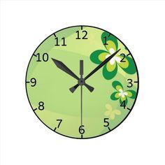 Green Spring Flower Round Clock