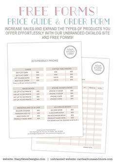 free photography price list template