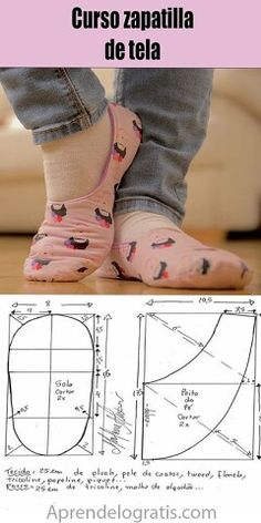 Diy Sewing Projects, Sewing Tutorials, Sewing Clothes, Diy Clothes, Sewing Slippers, Diy Couture, Skirt Patterns Sewing, Shoe Pattern, Crochet Shoes