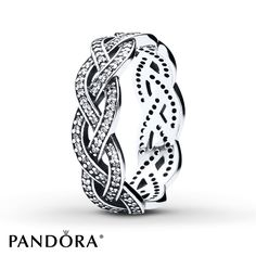 Sparkling clear cubic zirconias trace three braided strands to form this lovely sterling silver ring from the PANDORA Winter 2014 collection. Additional sizes may be available through special order at your nearest Jared location. This ring is exclusively available from Jared® the Galleria of Jewelry. Style 190913CZ-54.