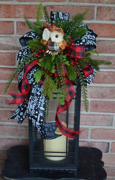 Farmhouse Lantern Swag, Christmas Centerpiece, Lantern Centerpiece, Christmas Farmhouse Lantern Swag