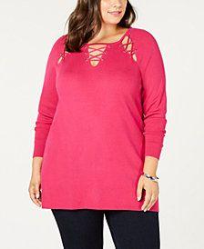 957384efb9c1e Belldini Black Label Plus Size Laced Grommet Sweater Plus Size Sweaters,  Sweaters For Women,