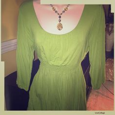 Style & Co. Tie-Back Top Adorable scoop-neck shirt with an elastic empire waist in bright green. In excellent condition. Would be perfect for St. Patty's Day! Style & Co Tops Tunics
