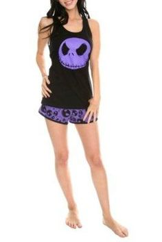 "I found 'Nightmare Before Christmas - ""Purple Jack Face"" Womens Tank and Shorts Set (Loungewear, Sleepwear, Pajamas)' on Wish, check it out!"