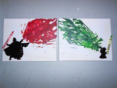 unique melted crayon art  | Star Wars Melted Crayon Art Paintings by OnceUponACrayon on Etsy