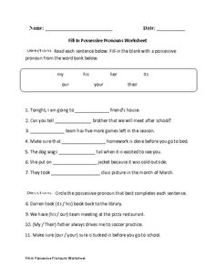 FIll-in Possessive Pronouns Worksheet