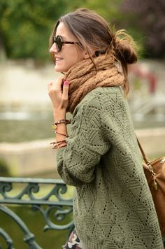LOVE her sweater and scarf!!