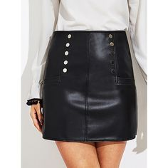SheIn(sheinside) Faux Leather Zip Back Skirt ($16) ❤ liked on Polyvore featuring skirts, mini skirts, black, body con skirt, faux leather mini skirt, bodycon skirt, fake leather skirt and faux leather skirts