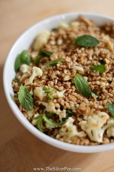 Roasted Cauliflower Farro Salad