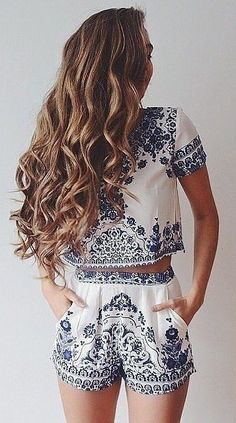 #summer #fashion / pattern print playsuit