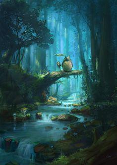 The Art Of Animation studio ghibli no face and totoro Studio Ghibli Films, Art Studio Ghibli, Studio Art, Hayao Miyazaki, My Neighbor Totoro, Anime Scenery, Fantasy Art, Anime Fantasy, Anime Art