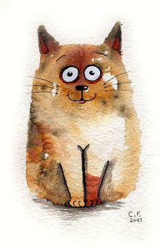 chat, aquarelle a5