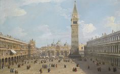 """VENICE, THE PIAZZA SAN MARCO LOOKING EAST TOWARDS THE BASILICA,"" CANALETTO. Oil on canvas; 58.5 by 92 cm.; 23 by 36¼ in. (Giovanni Antonio Canal, called Canaletto) Sotheby's 2014 sale £5,458,500."