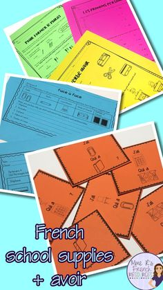 French school supplies speaking and writing activities. Includes notes and practice for forming French plural nouns, using subject pronouns, avoir conjugations, negation, and school supply vocabulary. Includes partnered speaking activities, j'ai...qui a... game, avoir posters, exit tickets, listening comprehension, and more. Click here to see it now!