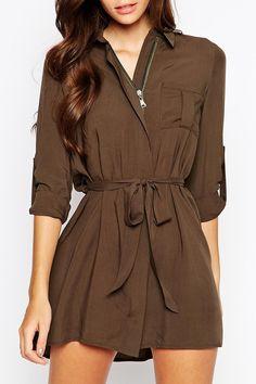 Love Love LOVE this Dress! Khaki Brown Club L Relaxed Zipper Shirt Dress #Relaxed #Weekend #Casual #Khaki #Brown #Shirt_Dress #Fashion