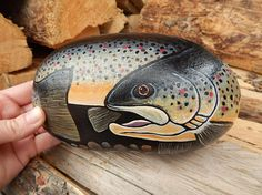 Brown Trout Fine Art Painting Fish Painted Rock Trout