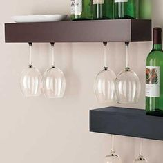 Hanging wine glasses rack. Could be colored, black, or raw aluminum.