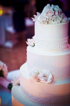 Possible wedding cake design. [Let them eat cake! Cream and blush roses adorn this classic white wedding cake.]