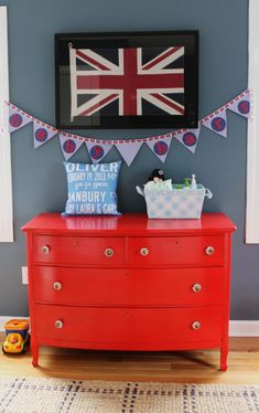 Baby Boy Room Red Changing Tables Ideas For 2019 Baby Bedroom, Baby Boy Rooms, Baby Boy Nurseries, Nursery Room, Red Dresser, Small Dresser, Nursery Themes, Room Themes, Themed Nursery