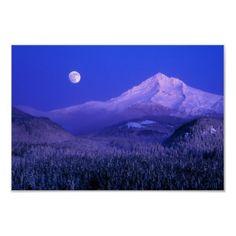 Moonrise over Mt Hood winter, Oregon Posters by danitadelimont