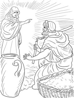 God& Angel Called Gideon coloring page from Judge Gideon category. Select from 25665 printable crafts of cartoons, nature, animals, Bible and many more. School Coloring Pages, Bible Coloring Pages, Free Printable Coloring Pages, Coloring Books, Bible Story Crafts, Bible Stories For Kids, Bible For Kids, Sunday School Lessons, Sunday School Crafts
