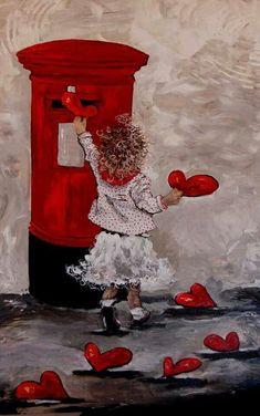 "Képtalálat a következőre: ""maria magdalena oosthuizen art"" Vintage Valentines, Happy Valentines Day, Valentine Hearts, Valentine Wishes, Decoupage, I Love Heart, Happy Heart, Heart Art, Street Art"