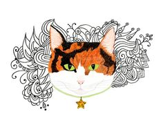 Calico Cat Star  8x10 print  Pen and Ink Doodles by modpretties, $24.00