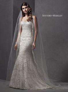 Swarovski crystal beaded sheath wedding dress with romantic scoop neckline, Yolanda by Sottero and Midgley.