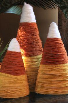 DIY Fall Decorations - Yarn Candy Corn  #diyfalldecoration