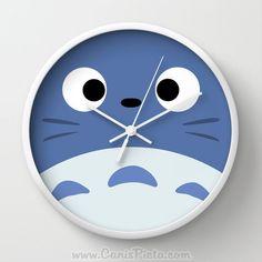 Blue Totoro Wall Clock in Natural Wood, Black, or White Frames Anime Medium Manga Troll Hayao Miyazaki Studio Ghibli Gift Home Decorative