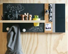 Mulit+memobord+met+schoolbord,+kurk+en+vilt