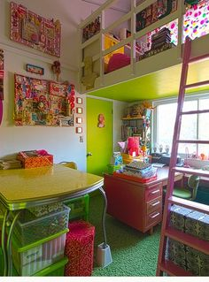 Pink and green loft space