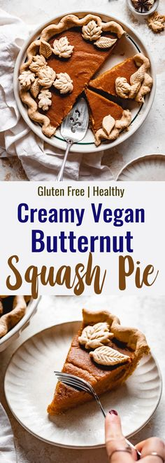 This rich, yet light and fluffy Creamy Vegan Butternut Squash Pie will go perfectly on your Thanksgiving dessert table! | Food Faith Fitness | #Vegan #dairyfree #glutenfree #thanksgivingpie #butternutsquash Paleo Dessert, Dessert Table, Dessert Recipes, Baked Butternut Squash, Roasted Butternut, Squash Pie, Vegan Pie Crust, Crispy Sweet Potato, Healthy Thanksgiving Recipes