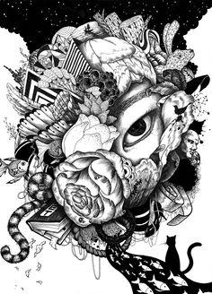 Black&White Pen illustration. 2014. by Jo sura. Motivated by Iain Macarthur. 펜화, 펜 일러스트