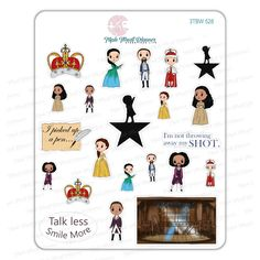 """The Triple Threat Players have taken over Broadway, and this time performing in the musical Hamilton. With this sticker sheet you will receive 22 stickers about .5""""- 1"""" Talk Less Smile More, Hamilton Quotes, And July, Pretty Packaging, Sticker Paper, Hamilton Stickers, Musicals, Broadway, Holiday Decor"""