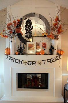 Halloween mantel.