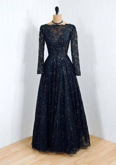 Don Loper evening dress with beaded and sequined silk-lined Chantilly lace, 1950s.