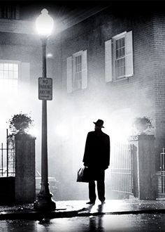 """Director William Friedkin's """"The Exorcist"""". (actor Max Von Sydow shown in in this iconic image btw.)"""