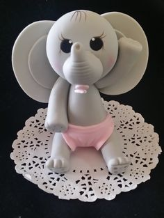 Gray Elephant Cake Topper, Pink Elephant Theme, Elephant for Centerpieces, Blue and Gray Elephant Decoration, Baby Elephant Cake Topper