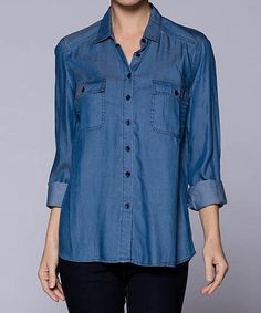 This Medium Blue Denim Flap-Pocket Long-Sleeve Button-Up by Lydiane is perfect! #zulilyfinds