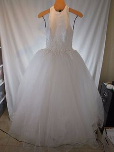 DESIGNER BEADED EMBROIDERED LACE BALL GOWN PRINCESS WEDDING DRESS DEMETRIOS 2 4