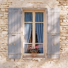 European photo of window with flowerpot and blue gingham curtains in Provence, France by Dennis Barloga | Photos of Europe: Fine Art Photographs by Dennis Barloga