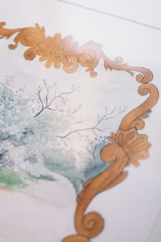 """watercolor painted with hand painted Rococo style decorative border. Whimsical painting of a country park. French style home decor. """"A Walk in the Park"""" by Jaime Arlene Studio Artist Rococo Style, French Rococo, French Style Homes, Decorative Borders, Summer Art, Paintings For Sale, Watercolour Painting, Painting Inspiration, Modern Art"""