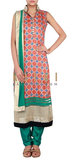 Buy Online from the link below. We ship worldwide (Free Shipping over US$100) http://www.kalkifashion.com/catalog/product/view/id/14832/s/multi-coloured-straight-fit-suit-embellished-in-print-and-sequin-only-on-kalki/