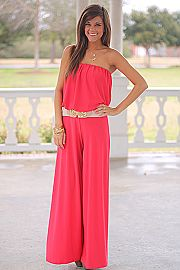 Time Of My Life Jumpsuit, Coral