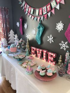 Loving the Christmas themed dessert table at this Cotton candy and makeover Birthday Party!! The backdrop is adorable!! See more party ideas and share yours at CatchMyParty.com #christmas #desserttable