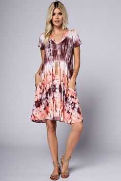 V-Neck Tie Dye Dress - Coral/Burgundy