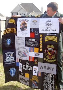 Army tee shirt quilt.. Gotta make this one day with all the Army shirts we collect.